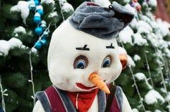 树雪新年圣诞节戏弄莫斯科冬天圣诞老人 免版税库存照片