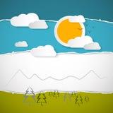 树,云彩,山,在减速火箭的被撕毁的纸背景的太阳 免版税库存图片