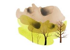 树,树水彩背景,摘要,传染媒介例证 库存照片