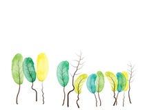 树,水彩摘要树背景,传染媒介例证 免版税库存图片