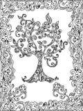 树zentangle着色页 免版税库存照片