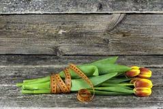 栓与郁金香测量的磁带花束在木背景开花 下雨 库存图片