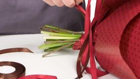 栓丝带的弓在花花束的卖花人  空白 关闭 股票视频