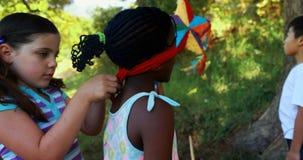 栓在她的朋友的女孩眼罩在公园注视 影视素材