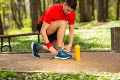 栓在轨道的英俊的年轻赛跑者鞋带在春天公园 在他附近是橙色热电偶 免版税库存图片