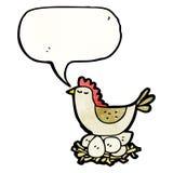 栖于在鸡蛋的动画片鸡 图库摄影