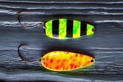 栖息处诱饵 在黑木桌特写镜头的栖息处诱饵 图库摄影