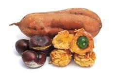 栗子panellets土豆甜点 免版税库存图片