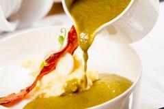 栗色和绿色蔬菜汤奶油  免版税库存照片