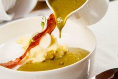 栗色和绿色蔬菜汤奶油  库存图片
