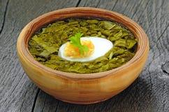 栗色汤用在棕色碗的鸡蛋 图库摄影