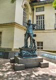 校园塞萨尔・查韦斯雕象西部购物中心地区德克萨斯州大学奥斯汀分校的 免版税库存图片