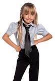 校服的小女孩 免版税库存照片