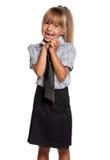 校服的小女孩 免版税库存图片