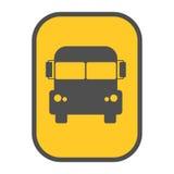 校车标志黄色地图尖传染媒介 库存照片