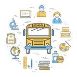 校车线性圆的横幅  免版税图库摄影
