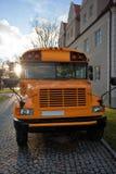 校车,黄色公共汽车,美国正面图  库存图片