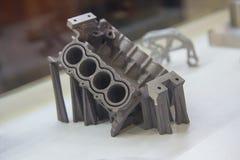 样品通过打印3D打印机生产了由金属粉末 免版税图库摄影