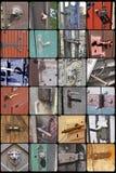 样品-门把手和配件在老历史建筑 库存照片