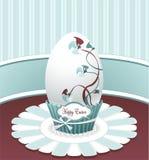 样式与图画花的复活节彩蛋鞠躬和labe 免版税库存图片