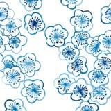 样式传统陶瓷的亚洲樱花。钴蓝色。 免版税图库摄影