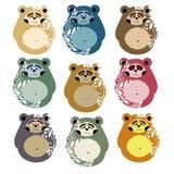 样式和装饰的逗人喜爱的熊 Matryoshka样式 库存例证