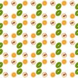 样式墙纸猕猴桃,桔子,桃子 果子传染媒介 免版税库存图片