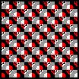 样式头骨红色白色,传染媒介手图画 向量例证