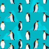 样式无缝与企鹅和明亮的冰山 免版税库存照片