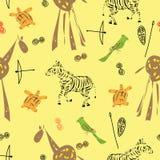 样式无缝与动物的各种各样的元素 皇族释放例证