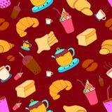 样式无缝的套新月形面包和咖啡 画的平的五颜六色的设计葡萄酒样式 r 向量例证
