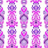 样式无缝的民间传说装饰品 部族种族传染媒介纹理 在阿兹台克样式的镶边刷子 图部族刺绣 印地安人, 向量例证