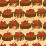 样式无缝的甜蛋糕 免版税库存图片