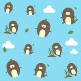 样式海狮看起来逗人喜爱和困在天空 库存例证