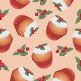 样式用杯形蛋糕和莓果 无缝的模式 免版税库存照片