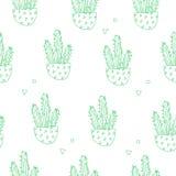 样式用绿色等高仙人掌和几何形状 纺织品和包裹的装饰品 向量 免版税图库摄影