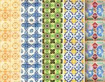 样式的汇集铺磁砖线用不同的颜色 免版税图库摄影