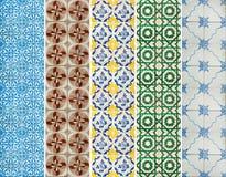 样式的汇集铺磁砖线用不同的颜色 免版税库存照片