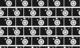 样式的黑白,行家,美丽,葡萄酒减速火箭的照相机 从照相机的石工 无缝的纹理 图库摄影