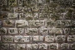 样式葡萄酒现代与水泥的样式设计装饰参差不齐的崩裂的真正的石墙表面颜色纹理为 免版税库存照片