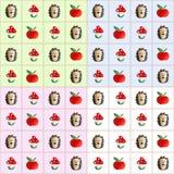 样式蛤蟆菌、猬和苹果 免版税库存图片