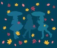 样式,摘要,例证,设计,艺术,秋天,墙纸,五颜六色,叶子,花,无缝,装饰,花,蓝色,叫喊 皇族释放例证