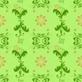 样式绿色花红色抽象图表 免版税图库摄影