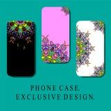 样式MOBIL有东方装饰元素的,葡萄酒样式电话盖子 独有的设计 免版税库存照片