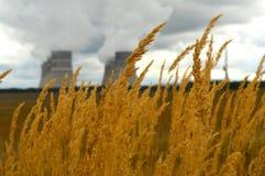 核发电站和烟从烟囱 图库摄影
