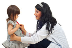 核对医生女孩小妇女 免版税库存图片