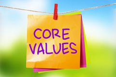 核心价值,商业道德诱导激动人心的行情 库存图片