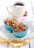 核桃和蜂蜜松饼 库存图片