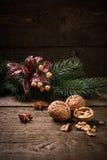 核桃圣诞节背景 免版税库存照片