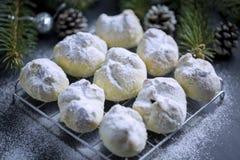 核桃曲奇饼洒与搽粉的糖 库存照片